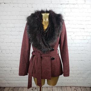 H&M Burgundy Fur Jacket SZ 4